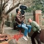 """1988 Rodaje de DNI en el """"Palacio de San José"""" prov. de Entre Rios - Cámara LB - Grua Anibal Di Salvo - Asistente de cámara Jorge Abad"""